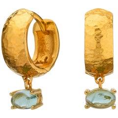 Maviada's 18 Karat Yellow Gold Vermeil Bastia Mini Aqua Blue Modern Hoop Earring