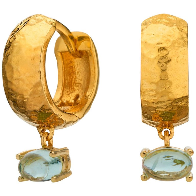 Maviada's 18 Karat Yellow Gold Vermeil Bastia Mini Aqua Blue Modern Hoop Earring For Sale