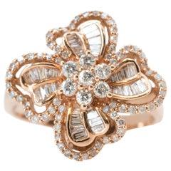 1 Carat Diamond and 14 Karat Rose Gold Floral Ring