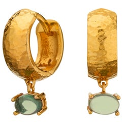 MAVIADA' s 18k Yellow Gold Vermeil Bastia Mini Green Peridot Modern Hoop Earring