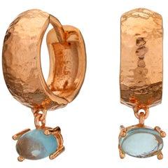 Maviada's 18 Karat Rose Gold Vermeil Bastia Mini Aqua Blue Quartz Hoop Earring