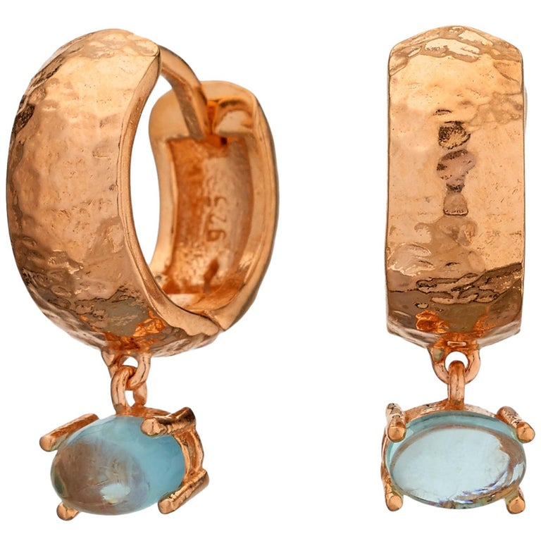 Maviada's 18 Karat Rose Gold Vermeil Bastia Mini Aqua Blue Quartz Hoop Earring For Sale