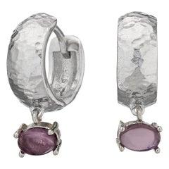 Maviada's White Rhodium Vermeil Bastia Mini Purple Amethyst Modern Hoop Earring