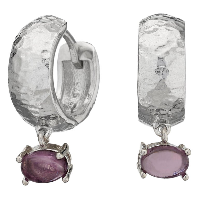 Maviada's White Rhodium Vermeil Bastia Mini Purple Amethyst Modern Hoop Earring For Sale