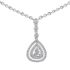 Rose Cut Pear Shape Diamond Double Halo Drop Pendant Necklace