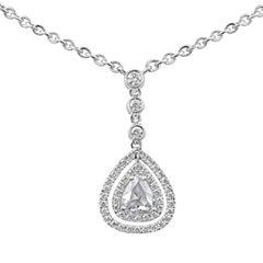 Roman Malakov, Rose Cut Pear Shape Diamond Double Halo Drop Pendant Necklace