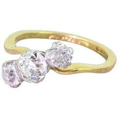 Art Deco 1.28 Carat Old Cut Diamond Trilogy Crossover Ring