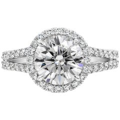 GIA Certified 2.24 Round Diamond Halo Engagement Ring