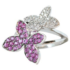 0.25 Carat Diamond and 0.25 Carat Pink Sapphire 14 Karat White Gold Floral Ring