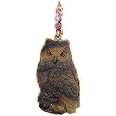 18 Karat Petrified Palm Owl with Sapphire Bail