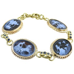 "Antique Style ""Days of the Week"" Carved Agate Bracelet with Sapphire Bezelled Li"