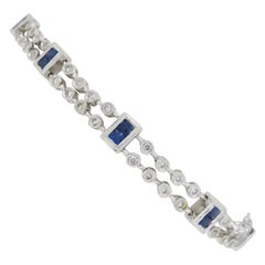 Diamond and Blue Sapphire Link Bracelet in 18 Karat White Gold