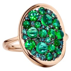 2.01 Carat Emerald and Diamond Pave Cocktail Ring