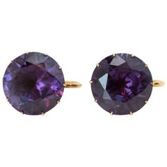 1920s Purple Alexandrite Clip on Earrings in 14 Karat Yellow Gold