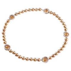 "Margot McKinney ""Chocolate"" Pearl Diamond Citrine Necklace"