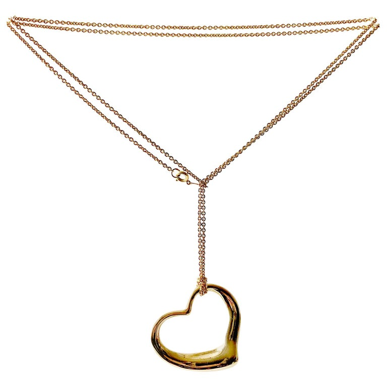 a124b08d7 Elsa Peretti Tiffany & Co. 18 Karat Gold Large Floating Heart Pendant  Necklace For Sale
