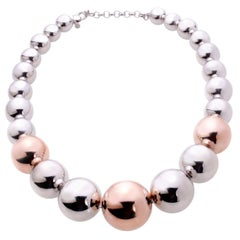Bicolor Silver and Copper-Plated Silver Ball Necklace