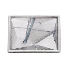 White gold Munsteiner cut quartz tourmaline brooch
