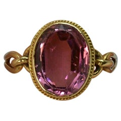 Victorian 15 Carat Gold and Pink Purple Stone Solitaire Ring