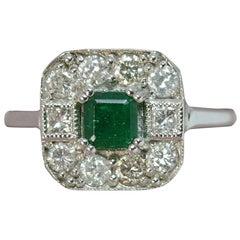 Art Deco Design Emerald and Diamond 18 Carat White Gold Cluster Ring