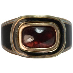 Georgian Garnet Foiled Cabochon and Full Enamel Mourning Signet Ring
