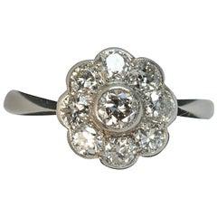 Antique VS Old Cut Diamond 18 Carat White Gold Cluster Ring