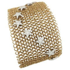 Pink Gold Mesh Coat Bracelet, Decorated with 16 Stars Set with Brilliants