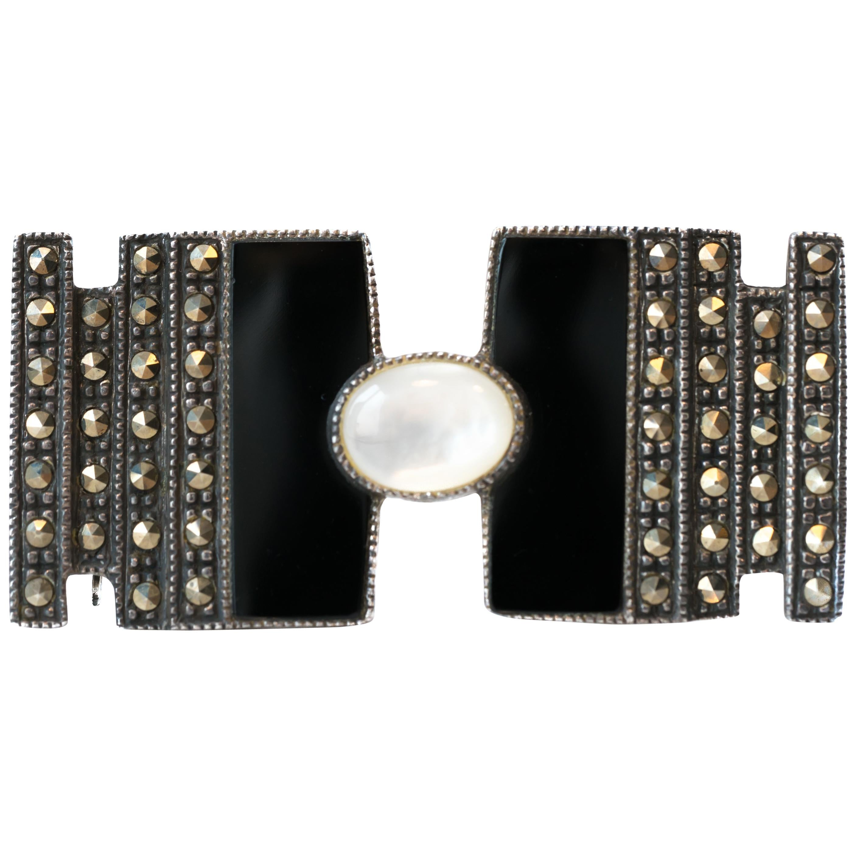 Onyx, Marcasite and Mother of Pearl Sterling Silver Brooch