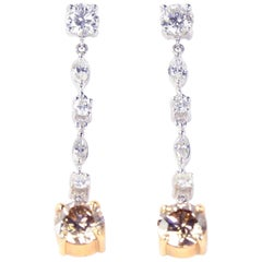 Estate Diamond Drop Gold Heirloom Quality Drop Earrings
