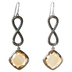 David Yurman Sterling Silver and Citrine Dangle Earrings