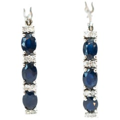 Blue Sapphire and Diamond White Gold Hoop Earrings