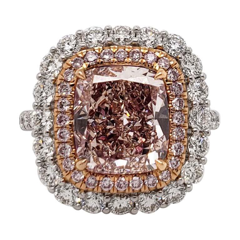 Scarselli Platinum Ring 4 Carat Natural Pink Cushion Diamond GIA certified