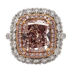 Scarselli 3.71 Carat Fancy Pink Cushion VS2 Diamond in Platinum Ring, GIA