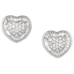 White Gold Diamond Heart Earring Studs