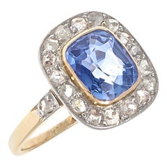 French Art Deco 2.14 Carat Kashmir Sapphire Diamond Gold Engagement Ring