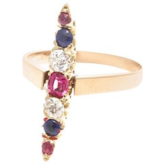 Victorian Sapphire Diamond Ruby Gold Navette Ring