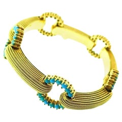 Cartier Turquoise Beads Textured Bars Vintage Gold Bracelet