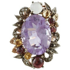 Diamonds Amethyst Yellow Topazes, Garnets Moonstone Rose Gold and Silver Ring