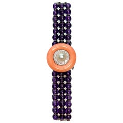 Amethyst, Diamond, Coral and Pearl 18 Karat White Gold Bracelet