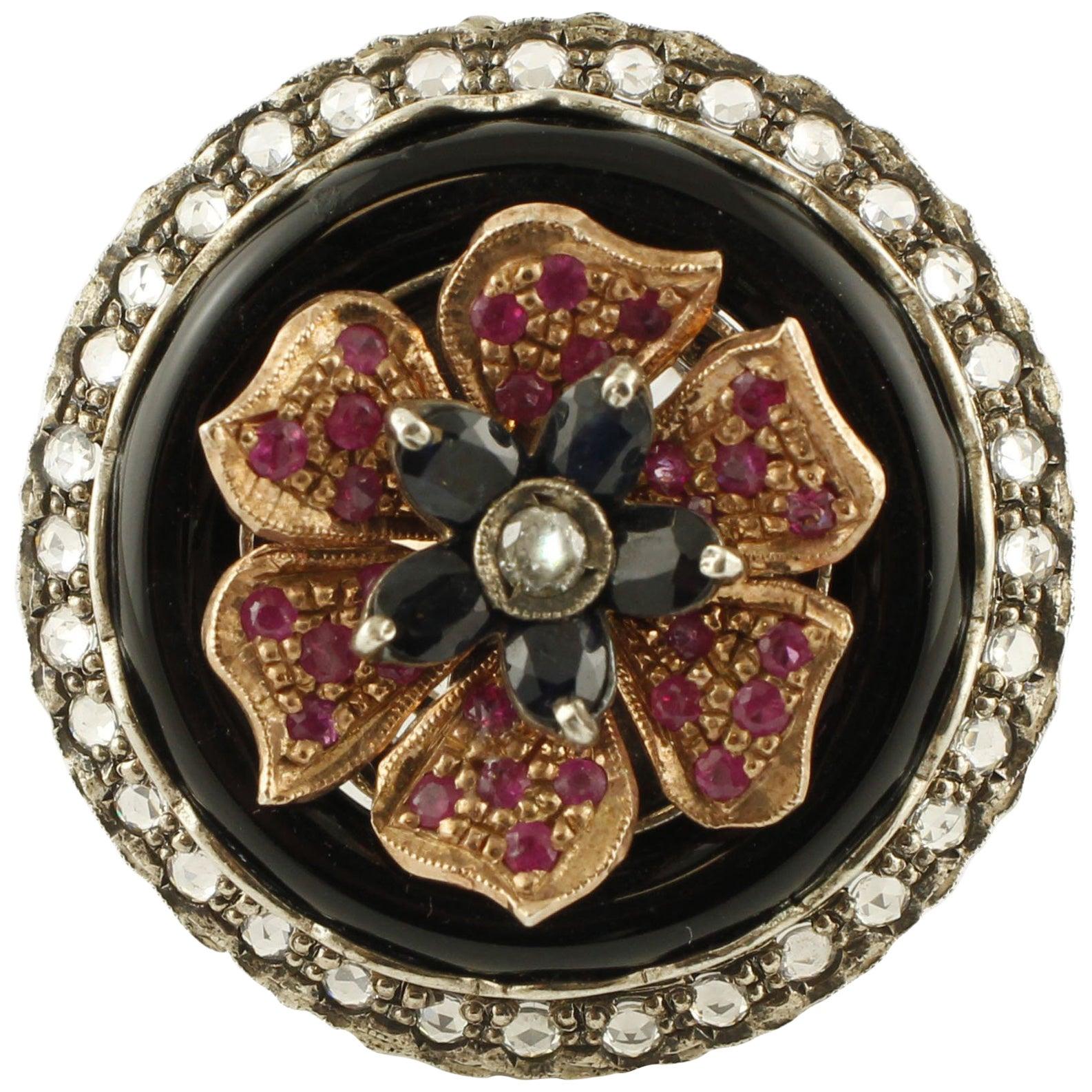Diamonds Rubies Australian Blue Sapphire Onyx Rose Gold and Silver Flower Ring