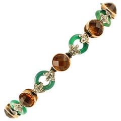 Diamonds Green Agate Rings Yellow Stones Rose Gold and Silver Link Bracelet