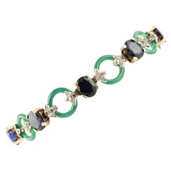 Diamonds Blue Sapphires Green Agate Rings Rose Gold and Silver Link Bracelet