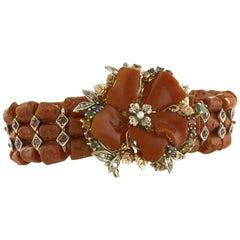 Diamonds Rubies Emeralds Sapphires Garnets Red Coral White Pearl Retrò Bracelet