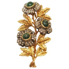 Stunning 1940s Buccellati 18 Karat Emerald and Diamond Flower Brooch