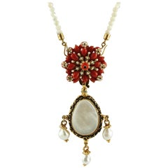 Red Coral, Pearls, Enamel, Mother of Pearl Row Yellow Gold Pendant Necklace