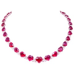 Ella Gafter Heart Shape Ruby and Diamond Necklace