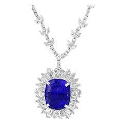 43 Carat Cushion-Cut Tanzanite Pendant Necklace with 18 Carat Diamonds, Estate