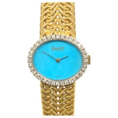 Piaget Ladies Yellow Gold Diamond and Turquoise Dial Mechanical Watch
