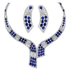 102 Carat  Natural Blue Sapphire & 25 Carat Diamond Necklace Suite 18 K , Bridal