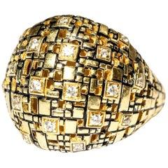 Bitcoin Blockchain Diamond Gold Ring